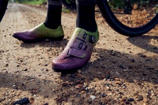Shimano RX8 Cactus Berry Gravel Shoes on Gravel Road