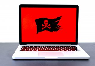 Pirate flag on a laptop computer